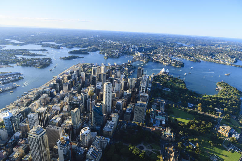 The central business district/finance district of Sydney/NSW, Australia. Aerial view during golden hour. Source: Getty Images