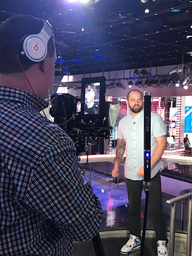 Mike Golic Jr. shoots SportsCenter for Snapchat on May 29, 2018. (Daniel Roberts/Oath)