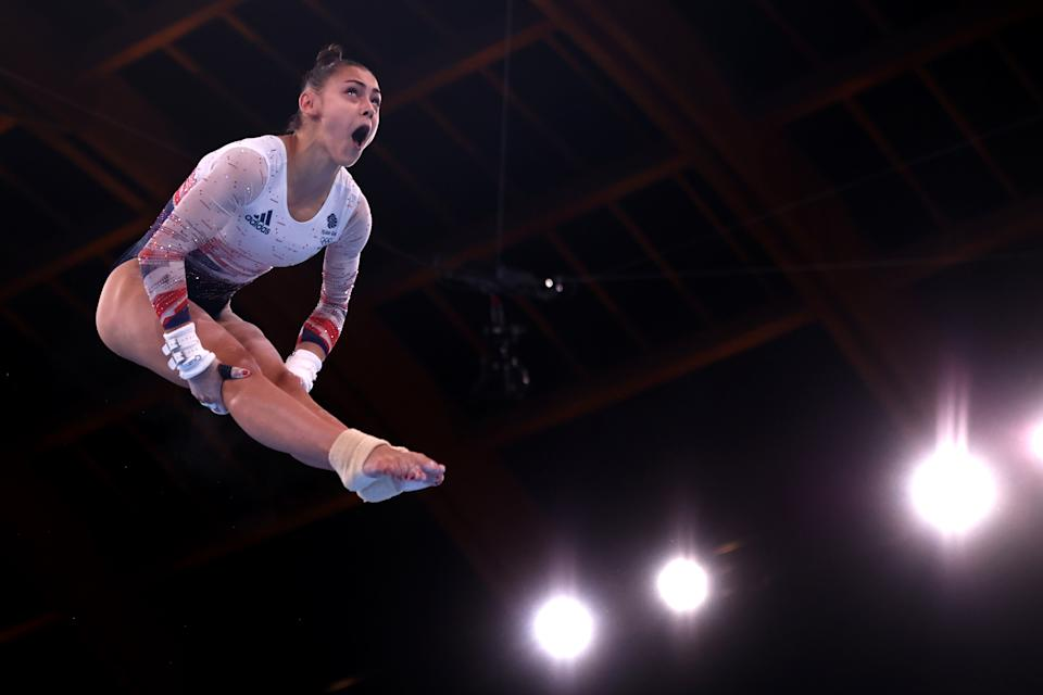 <p>Jennifer Gadirova of Team Great Britain competes on uneven bars during Women's Qualification on day two of the Tokyo 2020 Olympic Games at Ariake Gymnastics Centre on July 25, 2021 in Tokyo, Japan. (Photo by Laurence Griffiths/Getty Images)</p>