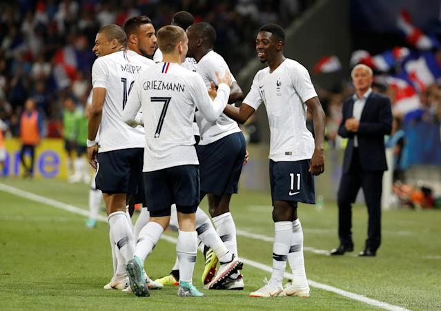 Soccer Football - International Friendly - France vs Italy - Allianz Riviera, Nice, France - June 1, 2018 France's Ousmane Dembele celebrates scoring their third goal with team mates REUTERS/Eric Gaillard