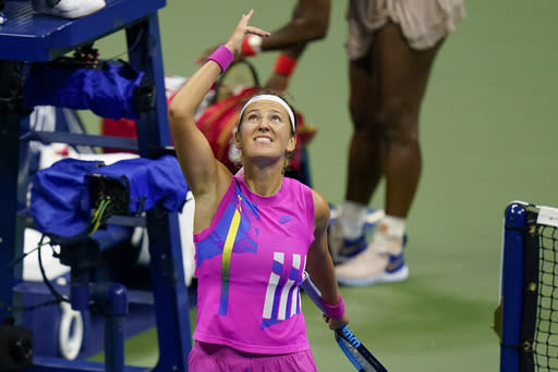 Victoria Azarenka, of Belarus, reacts after defeating Serena Williams, of the United States, during a semifinal match of the US Open tennis championships, Thursday, Sept. 10, 2020, in New York. (AP Photo/Seth Wenig)