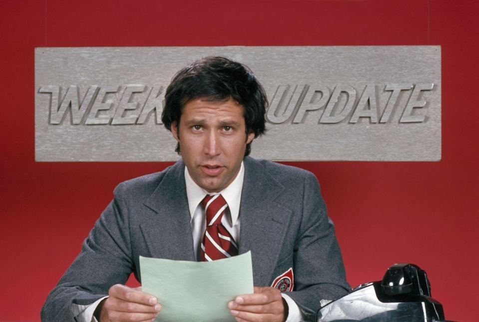 """<p>The late-night variety sketch show first aired in the fall of 1975, featuring comedic powerhouses like Chevy Chase, Gilda Radner, and John Belushi. Chase helmed the """"Weekend Update"""" segment, which remains a show staple today, in the now-coveted role of anchor.</p>"""