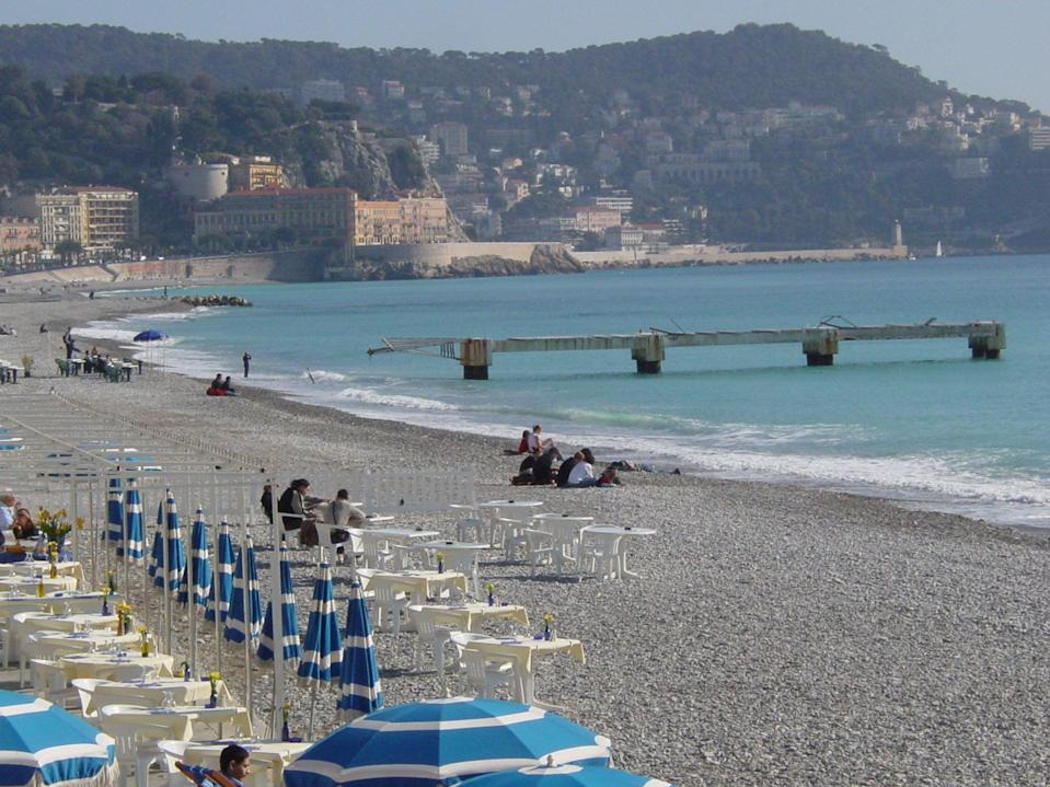 Opening up? The beach at Nice in southern France, currently on the UK 'green list' (Simon Calder)