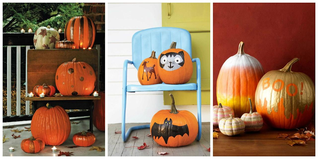 """<p>Sometimes <a rel=""""nofollow"""">carving pumpkins</a> can be a real chore-but fear not! We've rounded up the best (and easiest) ways to dress up your pumpkins with paint this season. Plus, get more <a rel=""""nofollow"""" href=""""http://www.womansday.com/home/decorating/g331/4-no-carve-pumpkin-ideas-124409/"""">great no-carve pumpkin ideas</a>!<br></p>"""
