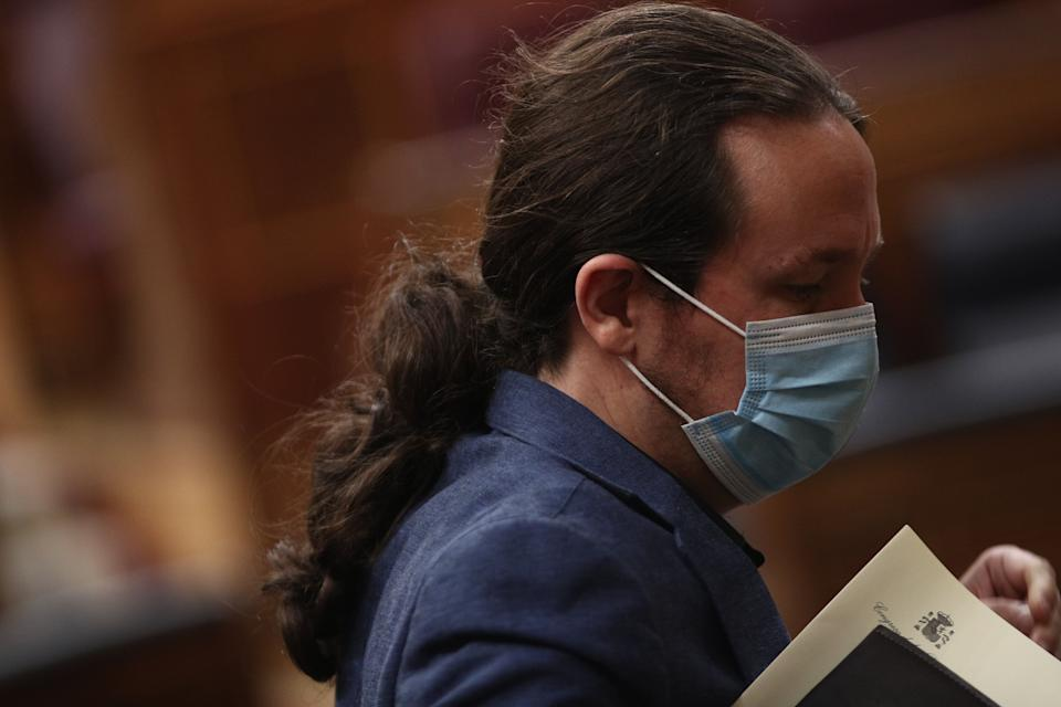 El vicepresidente segundo del Gobierno, Pablo Iglesias, en la sesión de control del 27 de mayo en el Congreso. (Photo: Europa Press News via Getty Images)