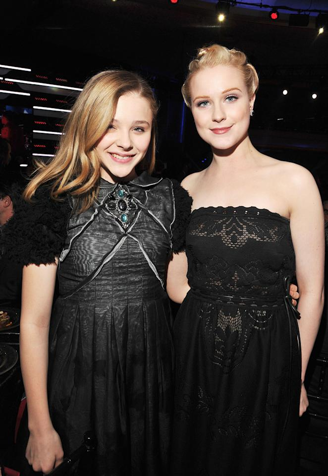 "<a href=""http://movies.yahoo.com/movie/contributor/1808549150"">Chloe Moretz</a> and <a href=""http://movies.yahoo.com/movie/contributor/1800021285"">Evan Rachel Wood</a> at the 17th Annual Critics' Choice Awards reception in Hollywood on January 12, 2012."