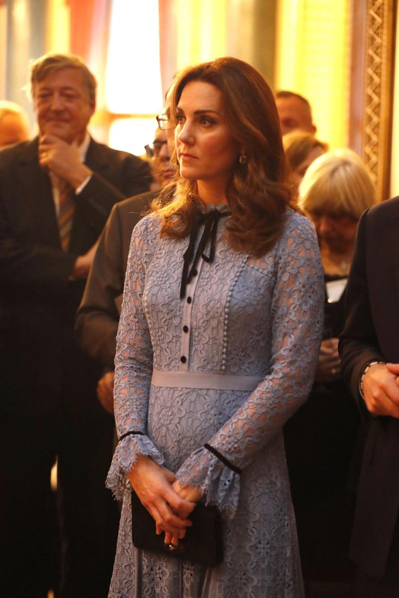 The Duchess wore a stunning Temperley London blue lace dress for the outing. Photo: Getty Images