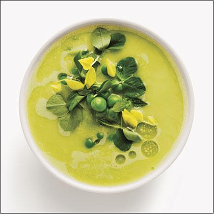 """<p>This refreshing, nutrient-packed summer soup features ultra-light flavors from fresh peas and English <a href=""""https://www.myrecipes.com/t/vegetables/cucumber"""" rel=""""nofollow noopener"""" target=""""_blank"""" data-ylk=""""slk:cucumbers"""" class=""""link rapid-noclick-resp"""">cucumbers</a>, with French bread cubes to thicken and <a href=""""https://www.myrecipes.com/ingredients/herb-recipes/how-to-use-extra-mint"""" rel=""""nofollow noopener"""" target=""""_blank"""" data-ylk=""""slk:fresh mint leaves"""" class=""""link rapid-noclick-resp"""">fresh mint leaves</a> to add lively flavor. </p>"""