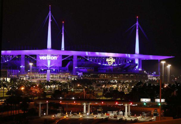 PHOTO:Part of the Hard Rock Stadium is seen during the Light It Blue initiative on April 9, 2020 in Miami Gardens, Fla. (Joe Raedle/Getty Images, FILE)