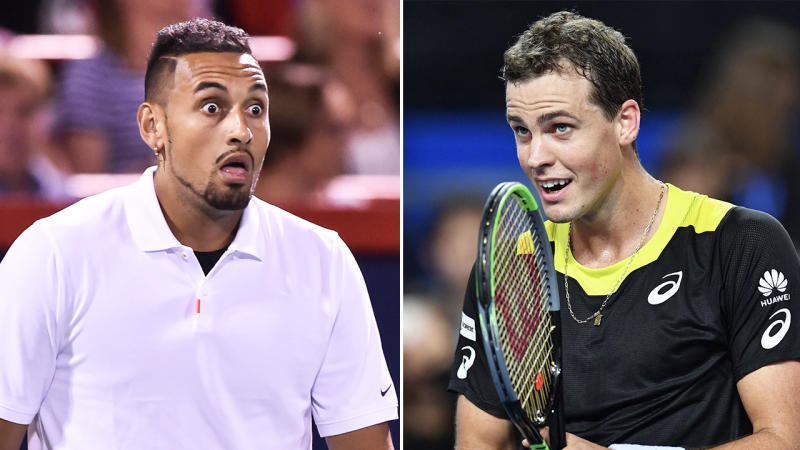 Canadian Vasek Pospisil (pictured right) reacting after a point and Nick Kyrgios (pictured left) looking surprised.