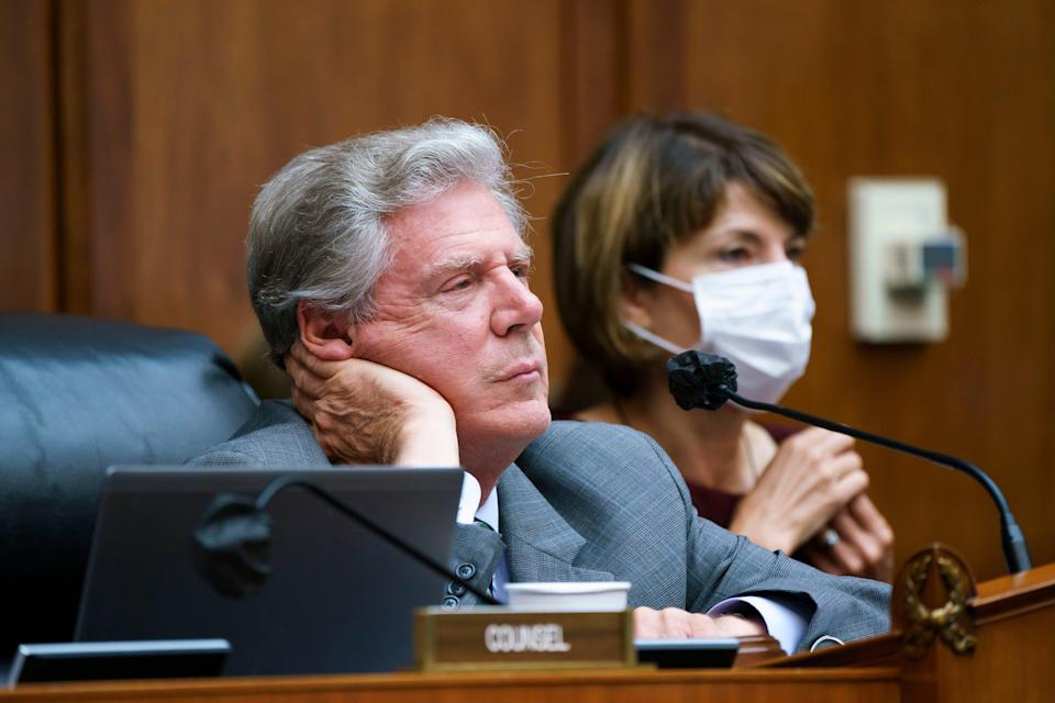 """House Energy and Commerce Chairman Frank Pallone, D-N.J., with Rep. Cathy McMorris Rodgers, R-Wash., right, the ranking member, as they continue work on the """"Build Back Better"""" package, cornerstone of President Joe Biden's domestic agenda, at the Capitol in Washington on Sept. 15, 2021."""