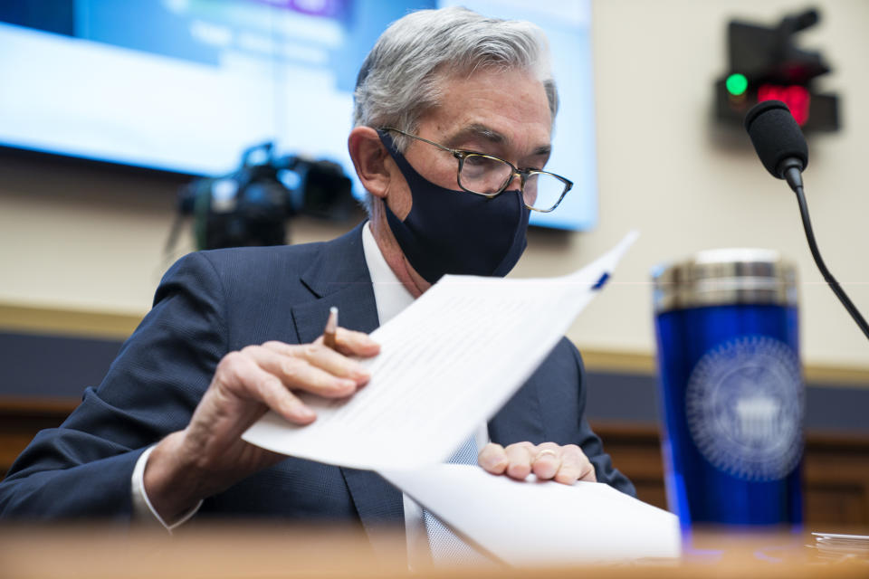 Federal Reserve Chair Jerome Powell prepares to testify before a House Financial Services Committee hearing on Capitol Hill in Washington, Wednesday, Dec. 2, 2020. (Jim Lo Scalzo/Pool via AP)