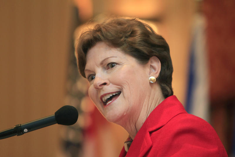 U.S. Sen Jeanne Shaheen D-N.H. speaks during a forum Monday, Aug. 13, 2012 in Concord, N.H., aimed at improving trade between New Hampshire and eastern Canadian provinces. Organized by the New Hampshire-Canada Trade Council, Monday's conference includes sessions on trade opportunities in the areas of education, energy, manufacturing, public-private partnerships and women's entrepreneurship. (AP Photo/Jim Cole)