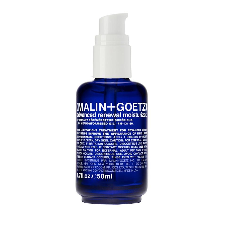 """<p>Malin + Goetz's Advanced Renewal Moisturizer is packed with meadowfoam seed oil and linseed extract (a natural source of omega-3 fatty acids) to lock in moisture, plump skin, and ward off the appearance of fine lines.</p> <p><strong>$76</strong> (<a href=""""https://shop-links.co/1667826849151391425"""" rel=""""nofollow noopener"""" target=""""_blank"""" data-ylk=""""slk:Shop Now"""" class=""""link rapid-noclick-resp"""">Shop Now</a>)</p>"""