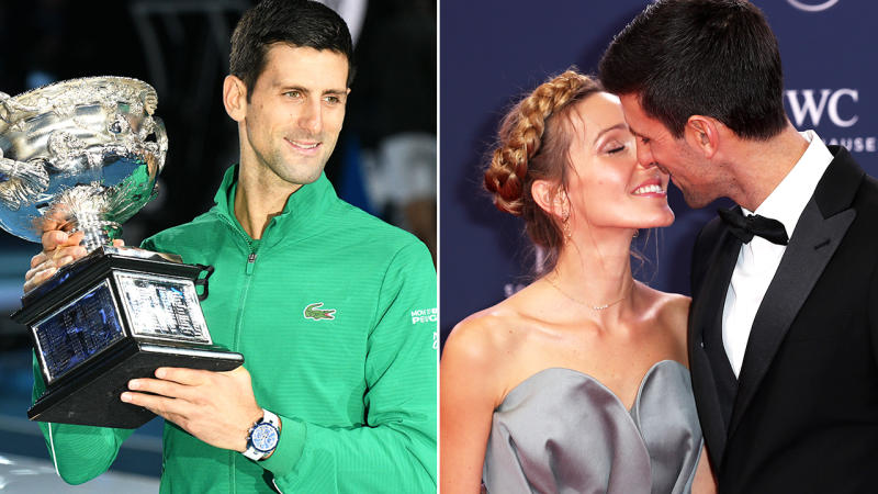 Novak Djokovic, pictured here with wife Jelena after winning the Australian Open.