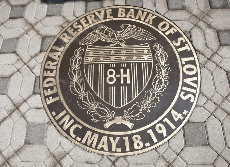 The Federal Reserve Bank of St. Louis seal is seen