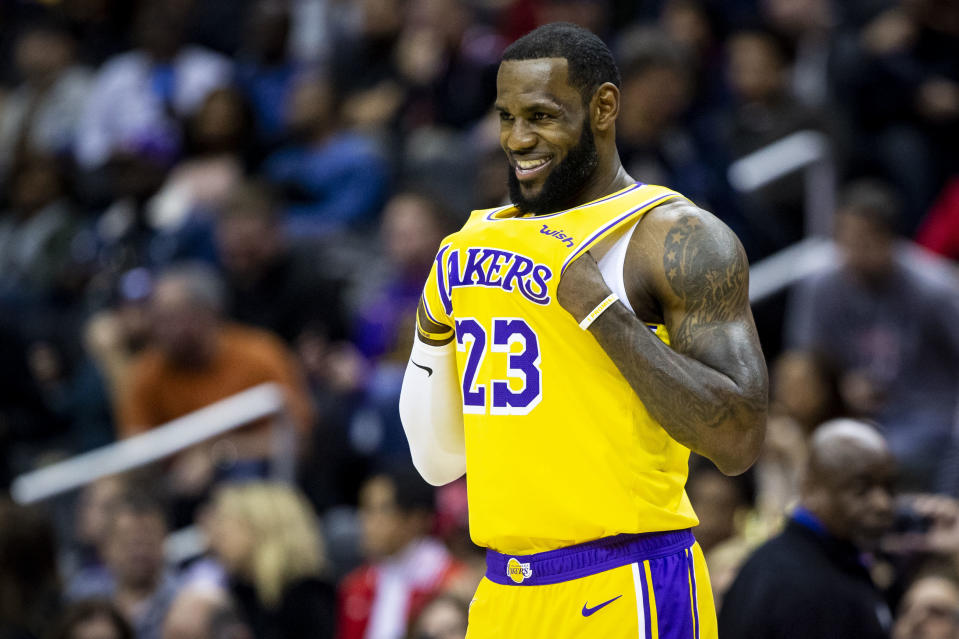 LeBron James went after soon-to-be free agents in the NBA All-Star draft. (AP Photo)