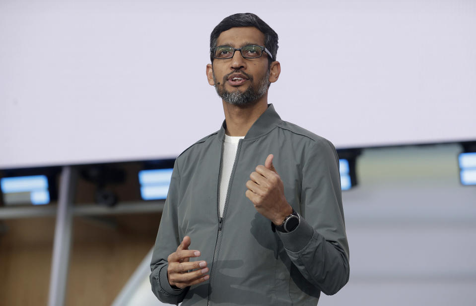 FILE - In this May 7, 2019 file photo, Google CEO Sundar Pichai speaks during the keynote address of the Google I/O conference in Mountain View, Calif. Google co-founders Larry Page and Sergey Brin are stepping down from their roles within the parent company, Alphabet. Pichai will stay in his role and also become CEO of Alphabet. (AP Photo/Jeff Chiu, File)