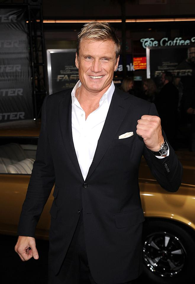 """<a href=""""http://movies.yahoo.com/movie/contributor/1800058493"""">Dolph Lundgren</a> at the Los Angeles premiere of <a href=""""http://movies.yahoo.com/movie/1810147419/info"""">Faster</a> on November 22, 2010."""