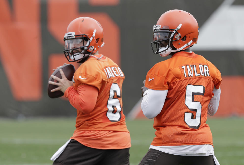 Tyrod Taylor opens the season at quarterback for the team Baker Mayfield will eventually lead. (AP Photo/Tony Dejak)