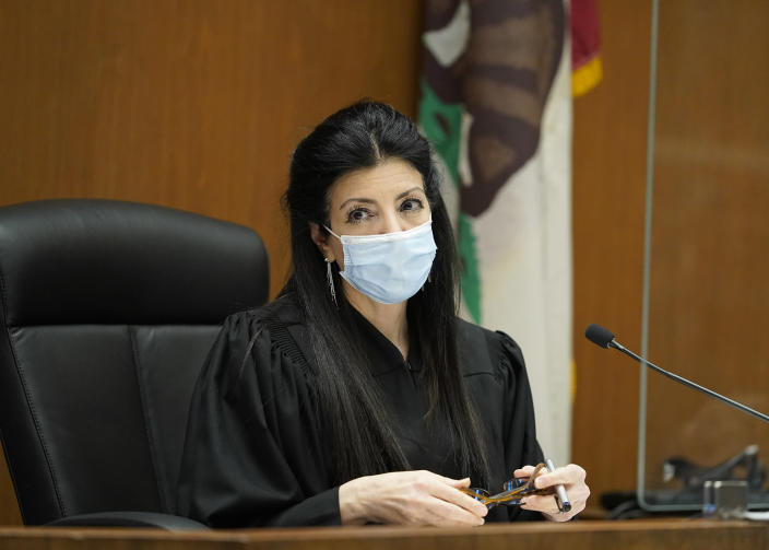 Los Angeles Superior Court Judge Victoria Wilson presides over the arraignment of several people arrested in connection with the theft of Lady Gaga's dog and shooting of her dog walker, Thursday, April 29, 2021, in Los Angeles. Wilson ruled that no pictures or video of suspects will be permitted. (AP Photo/Damian Dovarganes, Pool)