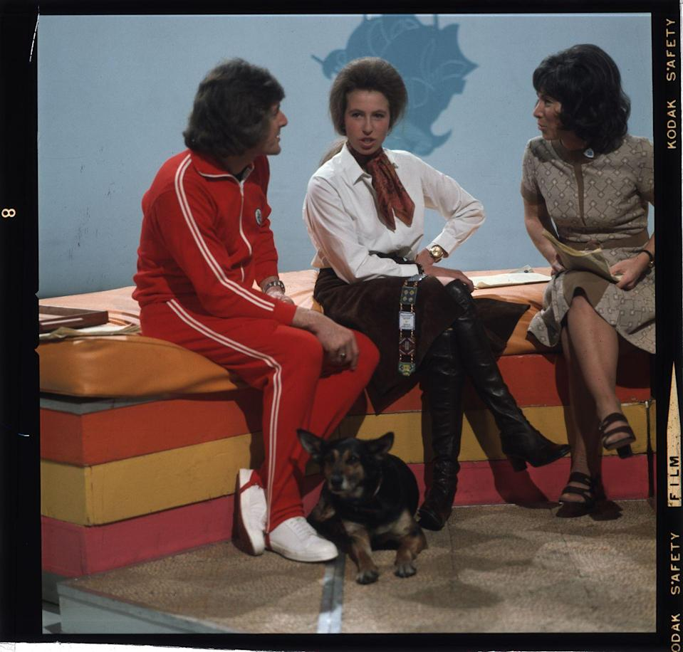 <p>Being interviewed with her dog, Petra, on the children's TV show <em>Blue Peter.</em></p>