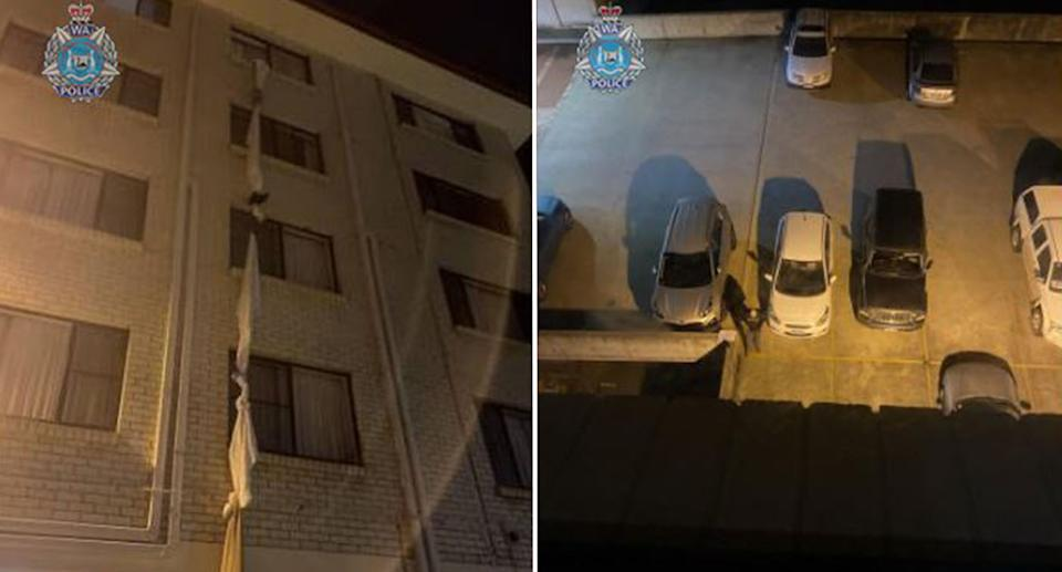 The rope made of sheets dangling from the hotel window.