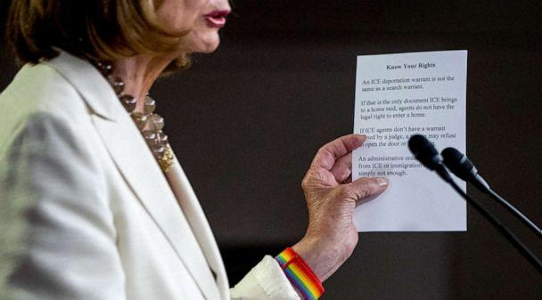 PHOTO: House Speaker Nancy Pelosi of Calif. reads from a paper titled 'Know Your Rights' regarding ICE agents attempting to perform raids as she meets with reporters on Capitol Hill in Washington, July 11, 2019. (Andrew Harnik/AP)