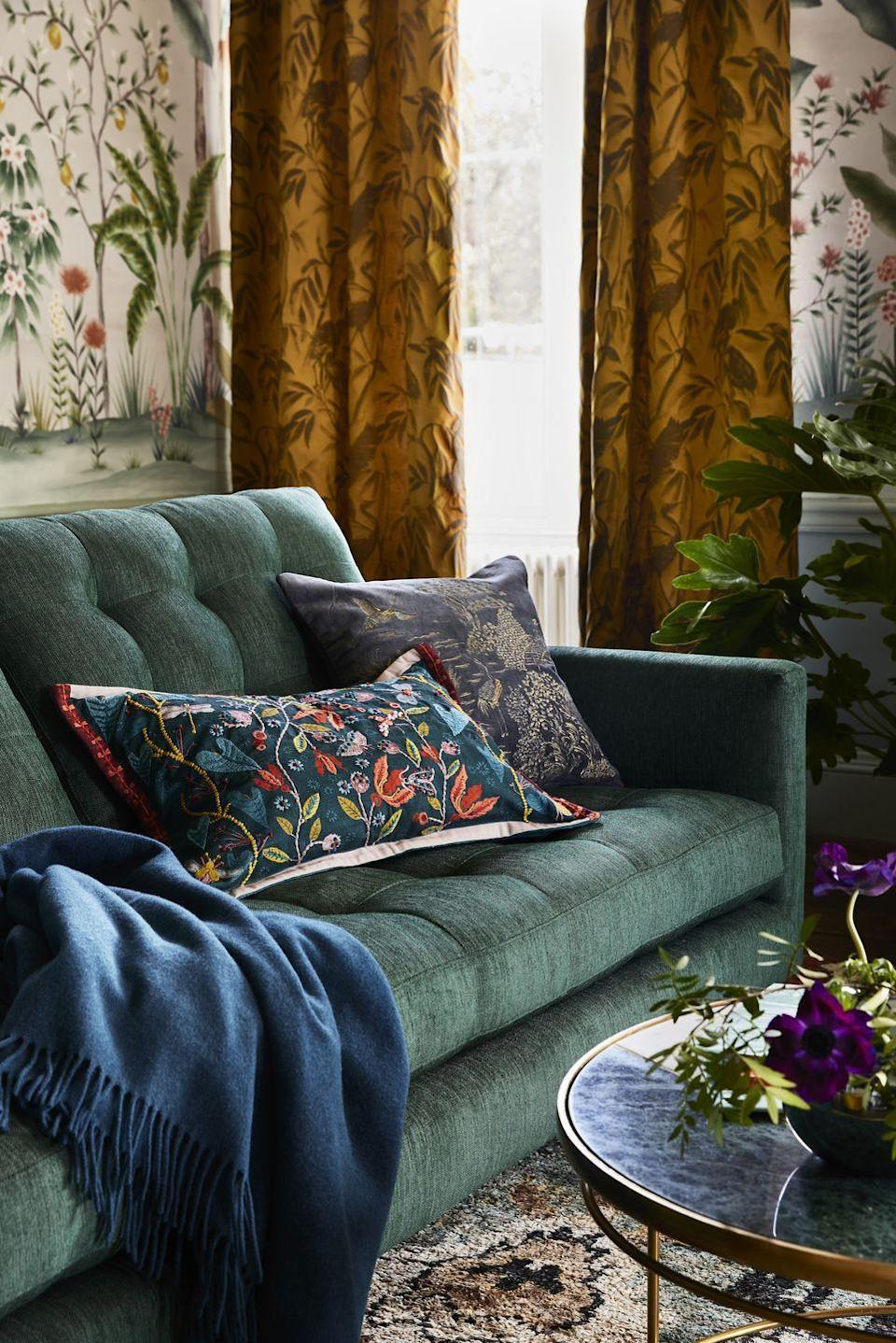 """<p>Layer in a few extra throw pillows for a quick winter home decor update. For the upcoming season, it's all about getting creative with punchy patterns, playful prints and textures. </p><p>""""Pattern plays an important role here, whether it's beautifully ornate wallpaper and curtains or a scattering of embroidered cushions,"""" say John Lewis. """"For this we've taken inspiration from our archive and introduced new designs for winter. They never fail to inject a sense of escapism wherever they're used.""""</p>"""