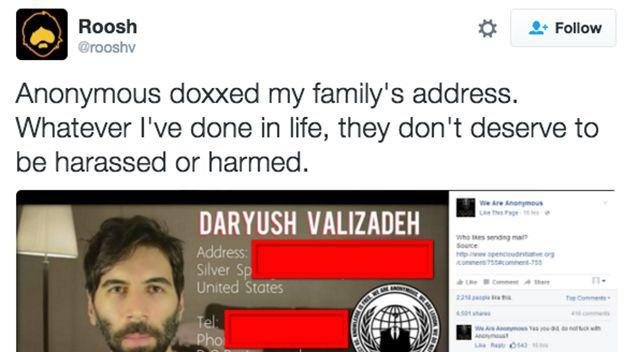 Daryush Valizadeh posted this on Twitter after his family's home address was released by a group called We Are Anonymous. Photo: Twitter