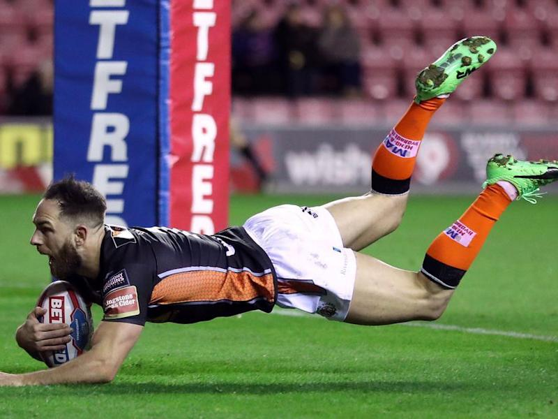 Luke Gale scores a try for the Castleford Tigers in their win over Wigan