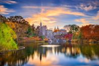 """<p><strong>Where to go:</strong> New York City's Central Park features purplish oaks, yellow tulip trees, and maples in classic fall hues — just check out this stunning sunset view of Belvedere Castle. Or you can take a ride through Hudson Valley on Amtrak's <a href=""""https://www.amtrak.com/routes/adirondack-train.html"""" rel=""""nofollow noopener"""" target=""""_blank"""" data-ylk=""""slk:Adirondack train"""" class=""""link rapid-noclick-resp"""">Adirondack train</a>, which pulls along a special leaf-peeping """"Dome Car"""" on select dates. </p><p><strong>When to go:</strong> Mid-October</p><p><a class=""""link rapid-noclick-resp"""" href=""""https://go.redirectingat.com?id=74968X1596630&url=https%3A%2F%2Fwww.tripadvisor.com%2FHotels-g60763-New_York_City_New_York-Hotels.html&sref=https%3A%2F%2Fwww.redbookmag.com%2Flife%2Fg34045856%2Ffall-colors%2F"""" rel=""""nofollow noopener"""" target=""""_blank"""" data-ylk=""""slk:FIND A HOTEL"""">FIND A HOTEL</a></p><p><strong>RELATED: <a href=""""https://www.goodhousekeeping.com/holidays/halloween-ideas/g1249/fall-quotes/"""" rel=""""nofollow noopener"""" target=""""_blank"""" data-ylk=""""slk:20+ Fall Quotes That Will Get You Excited for Sweater Weather"""" class=""""link rapid-noclick-resp"""">20+ Fall Quotes That Will Get You Excited for Sweater Weather</a></strong></p>"""