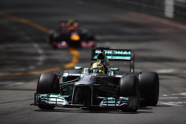 MONTE-CARLO, MONACO - MAY 25: Nico Rosberg of Germany and Mercedes GP drives during the final practice session prior to qualifying for the Monaco Formula One Grand Prix at the Circuit de Monaco on May 25, 2013 in Monte-Carlo, Monaco. (Photo by Bryn Lennon/Getty Images)