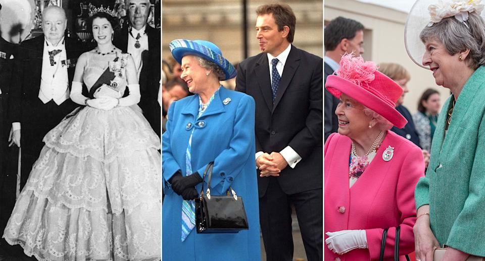 The Queen with Sir Winston Churchill, Tony Blair and Theresa May (Pictures: PA)