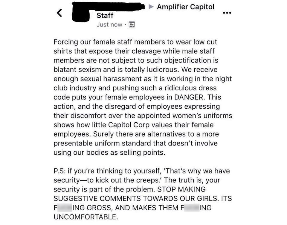 "Staff exploded on social media, saying the new shirts exposed female workers to ""objectification"". Source: Jessica Williams / Facebook"