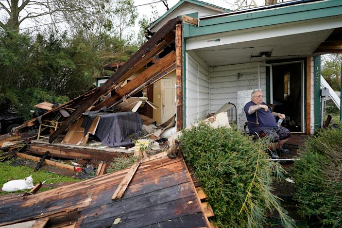 """Chris Johnson views destruction at his home on Thursday, Aug. 27, 2020, in Lake Charles, La., after Hurricane Laura moved through the state. <p class=""""copyright"""">Gerald Herbert/AP Photo</p>"""