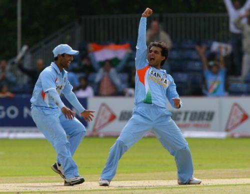 Former Indian captain Sourav Ganguly celebrates a wicket