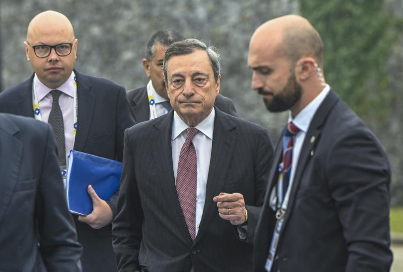SINTRA, PORTUGAL - JUNE 18: European Central Bank President Mario Draghi (C) arrives to participate in the morning discussion session during the second day of the 2019 ECB Forum on Central Banking, on June 18, 2019 in Sintra, Portugal. The ECB Forum on Central Banking 2019 is devoted this year to 20 Years of European Economic and Monetary Union. (Photo by Horacio Villalobos#Corbis/Corbis via Getty Images)