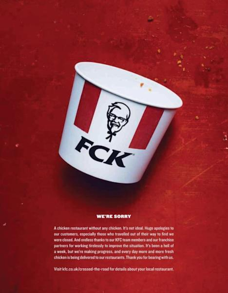 FCK, we're sorry: KFC wins over customers with humorous newspaper apology for chicken shortage