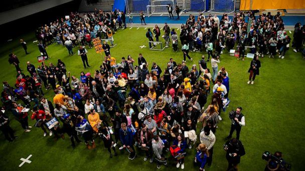 PHOTO: People take part in a Caucus at Drake University in Des Moines, Iowa, U.S., Feb. 3, 2020. (Eric Thayer/Reuters)