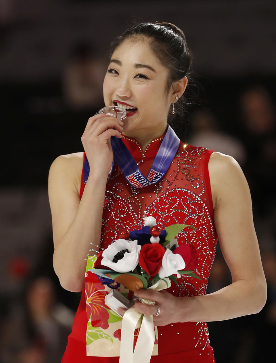 Mirai Nagasu poses after finishing second in the women's free skate event at the U.S. Figure Skating Championships in San Jose, Calif., on Jan. 5, 2018. (AP Photo/Tony Avelar)