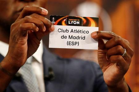 Eric Abidal draws Atletico Madrid. Soccer Football - Europa League Semi-Final Draw - Nyon, Switzerland - April 13, 2018 REUTERS/Stefan Wermuth