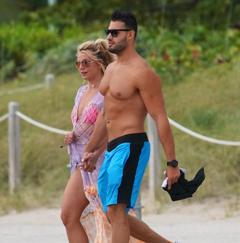 Spears and boyfriend Sam Asghari in Miami. Image via Splash News.