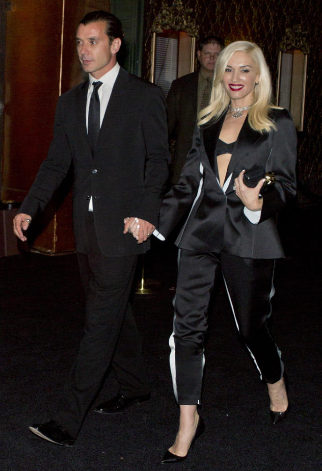 Gwen Stefani and her husband Gavin Rossdale were seen leaving Elton John's Husband, David Furnish's 50th birthday party at the Belasco Theatre in Downtown, Los Angeles.