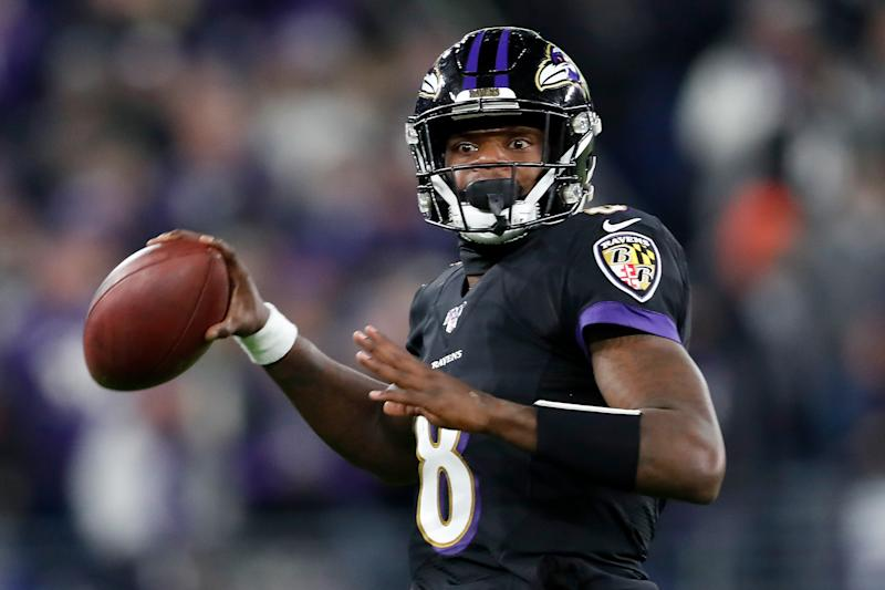 Lamar Jackson is one of a record-tying 12 Baltimore Ravens named to the Pro Bowl.(Scott Taetsch/Getty Images)