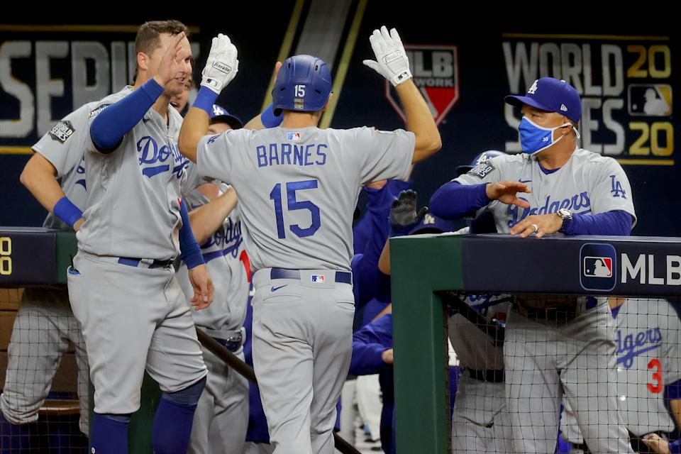 Austin Barnes made history in the Dodgers win in World Series Game 3. (Photo by Ronald Martinez/Getty Images)
