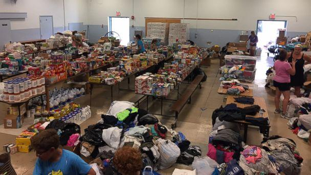PHOTO: Sugarloaf School turned the cafeteria into a distribution center for much-needed supplies. (Facebook/Sugarloaf School)