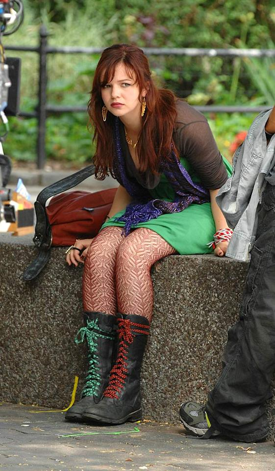 "A punked out Amber Tamblyn looks grumpy while waiting on the set of ""The Sisterhood of the Traveling Pants 2."" Ronald Asadorian/<a href=""http://www.splashnewsonline.com"" target=""new"">Splash News</a> - July 30, 2007"