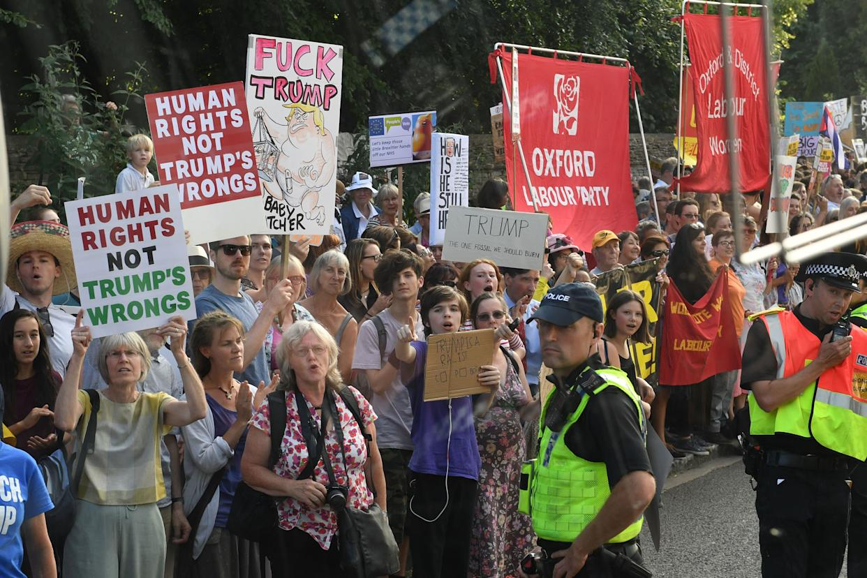 More protesters outside the entrance to Blenheim Palace, Oxfordshire, ahead of the dinner hosted by Prime Minister Theresa May.