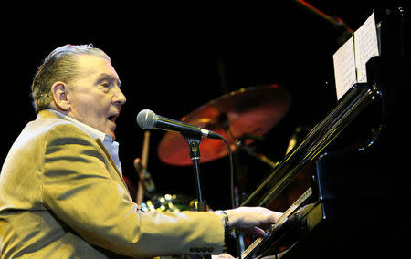 Jerry Lee Lewis performs during his concert in Budapest